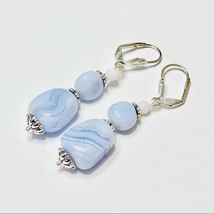 Icy Blue Polished Chalcedony Nugget Earrings